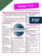 Swamp Talk, Okefenokee Toasatmasters newsletter, January 2020