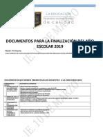 DOCUMENTOS PARA LA FINALIZACION DEL AÑO ESCOLAR 2019
