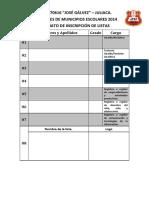 formato de inscripción listas municipio escolar