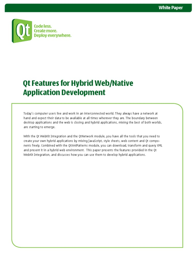 Qt Features for Hybrid Web Native Application Development