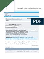 Renewable Energy and Sustainability Forum