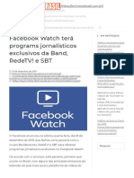 Facebook Watch terá programas jornalísticos exclusivos da Band, RedeTV e SBT