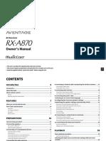 RX-A870 Receiver Manual
