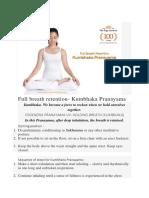 Full Breath Retention- Kumbhaka Pranayama