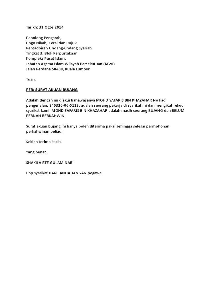 Surat Akuan Bujang 2 Doc