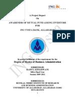 Awareness of Mutual Fund Among Investors From Ing Vysya Bank