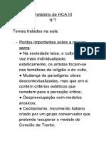 Relatório de HCA III. °7