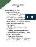 Relatório de HCA III N°5