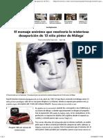 El Mensaje Anónimo Que Resolvería La Misteriosa Desaparición de 'El Niño Pintor de Málaga'