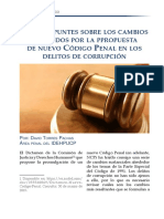 Breves apuntes sobre los cambios sugeridos por la propuesta de nuevo Código Penal en los delitos de corrupción