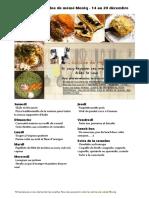 Menu de La Cuisine de Meme Moniq 14 Au 20 Decembre