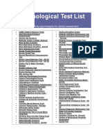 Psychological Test List