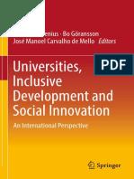 Claes Brundenius, Bo Göransson, José Manoel Carvalho de Mello eds. Universities, Inclusive Development and Social Innovation An International Perspective