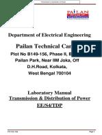 t&d Lab Manual 4th Sem Ee