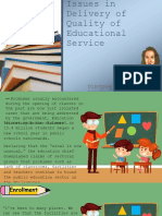Issues in Delivery of Quality of Educational Service