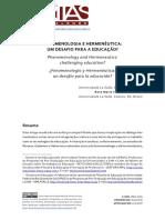 Fenomenologia e Hermenêutica - Um Desafio Para a Educação.