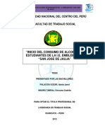 INICIO DEL CONSUMO DE ALCOHOL EN ESTUDIANTES DE LA I.E EMBLEMATICO SAN JOSE DE JAUJA