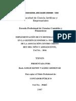 Implementacion de un Sistema contable en la Gestion economica-financiera de la asociacion centro cristo rey delñ niño y adolescentes