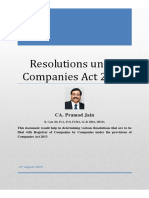 Resolutions Under Companies Act 2013