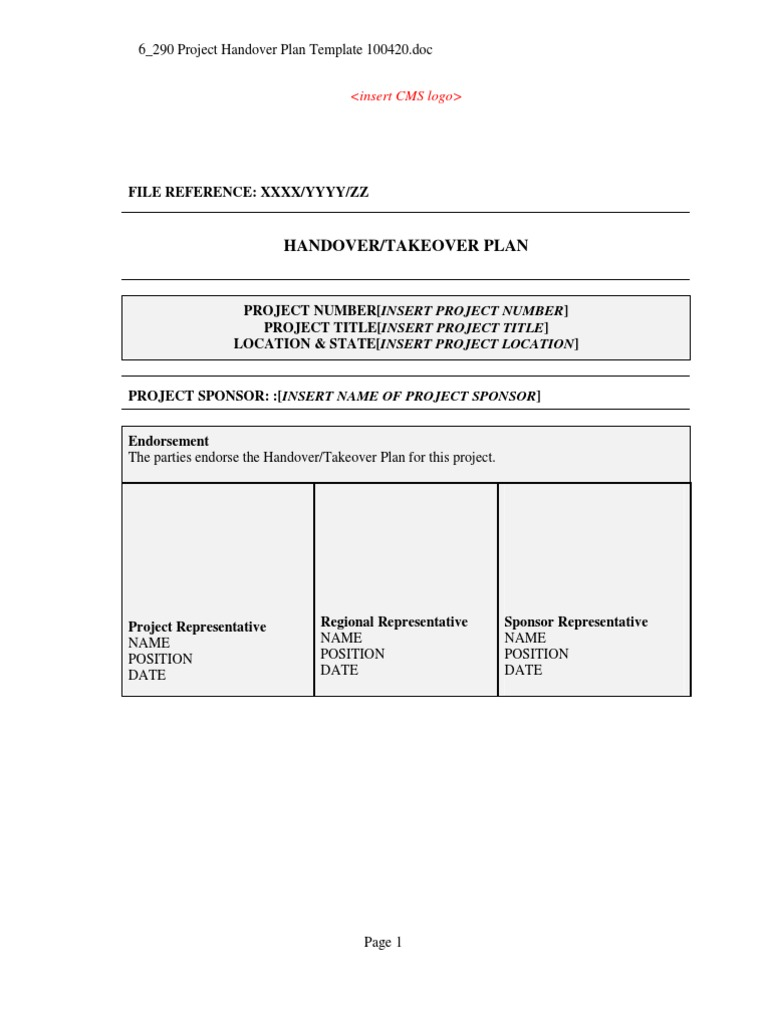 project plan document template free - project handover plan template general contractor