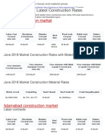 Latest construction rates for house and material prices