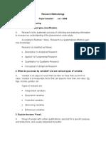 Research methodology Ty BBA sem 5th Oct - 2009
