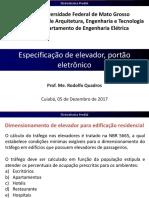 18-Especificação de elevador, portão eletrônico