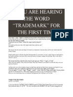 "If You Are Hearing the Word ""Trademark"" for the First Time"