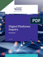 ACCC 19 report on digital plattforms