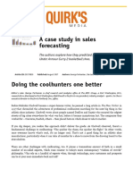 A case study in sales forecasting