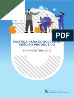 política de acceso al crédito productivo Argentina