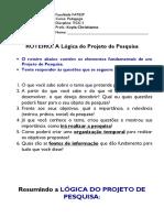 Lógica do Projeto de Pesquisa