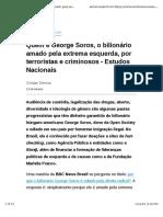 Quem é George Soros, o bilionário amado pela extrema esquerda, por terroristas e criminosos - Estudos Nacionais