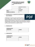 11203 MATEMATICA BASICA PARA CIENCIAS ECONOMICAS