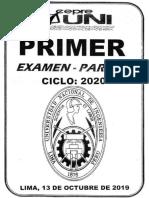 primer examen parcial cepre UNI 2020 1