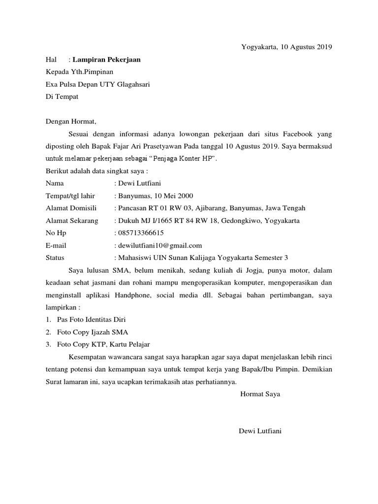 Surat Lamaran Pekerjaan Docx