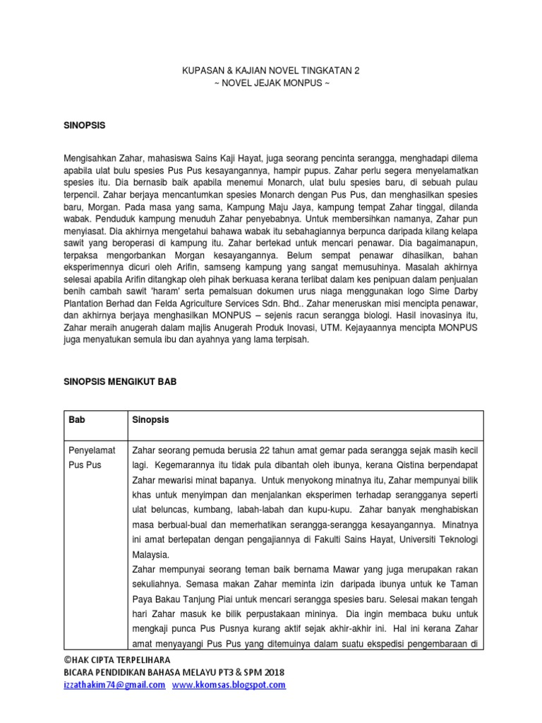 Nota Novel Jejak Monpus Tingkatan 2 Flip Ebook Pages 1 8 Anyflip Anyflip