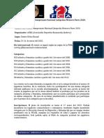 Bases Campeonato Nacional Categorías Menores 2020