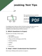 FCE SPEAKING Test Tips