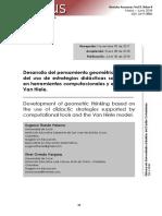 Desarrollo del pensamiento geométrico a partir del  uso  de  estrategias  didácticas  soportadas en herramientas computacionales y el modelo Van Hiele.