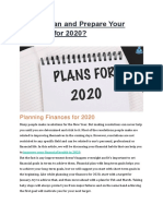 How to Plan and Prepare Your Finances for 2020