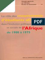 UNESCO - Mouvements des Etudiants Africaines, 1900-1975