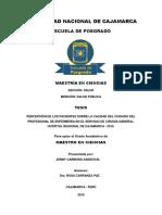 PERCEPCIÓN DE LOS PACIENTES SOBRE LA CALIDAD DEL CUIDADO DEL PROFESIONAL DE ENFERMERÍA EN EL SERVICIO DE CIRUGÍA GENERAL. HOSPITAL REGIONAL DE CAJAMARCA - 2015.