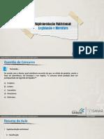 07 - Suplementação Nutricional- Legislação e Diretrizes