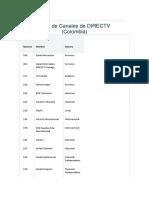 Guía de canales Direct tv