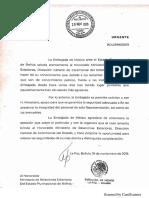 Solicitud de seguridad para embajada en La Paz (19 nov)