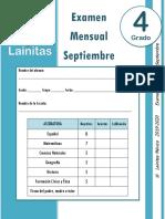Septiembre - 4to Grado - Examen Mensual (2019-2020)