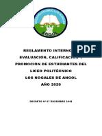 REGLAMENTO INTERNO DE EVALUACIÓN 2020 REVISADO