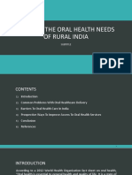 MEETING THE ORAL HEALTH NEEDS OF RURAL INDIA