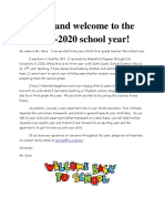 2019-2020 Welcome Letter-First Grade-English JG